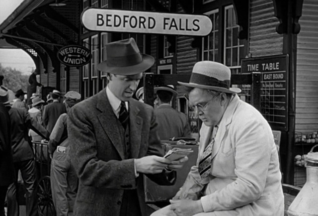 James Stewart and Thomas Mitchell in Bedford Falls.