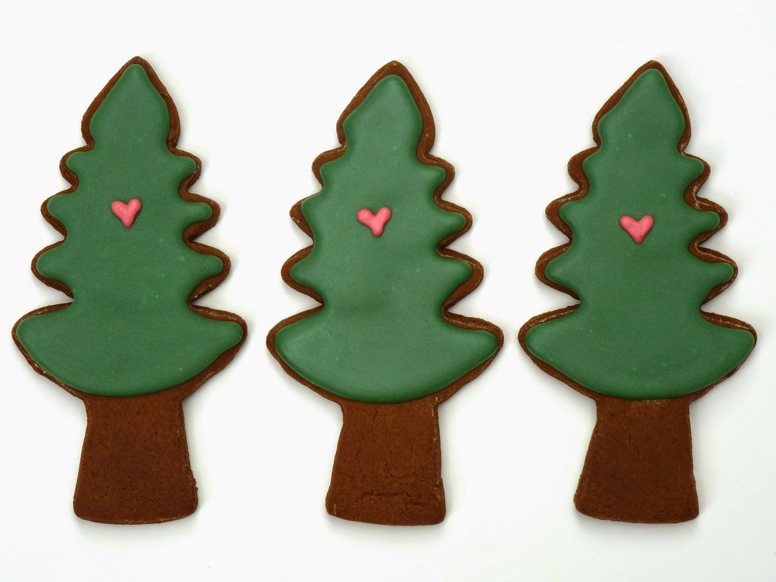 Three Decorated Tree Cookies with Hearts