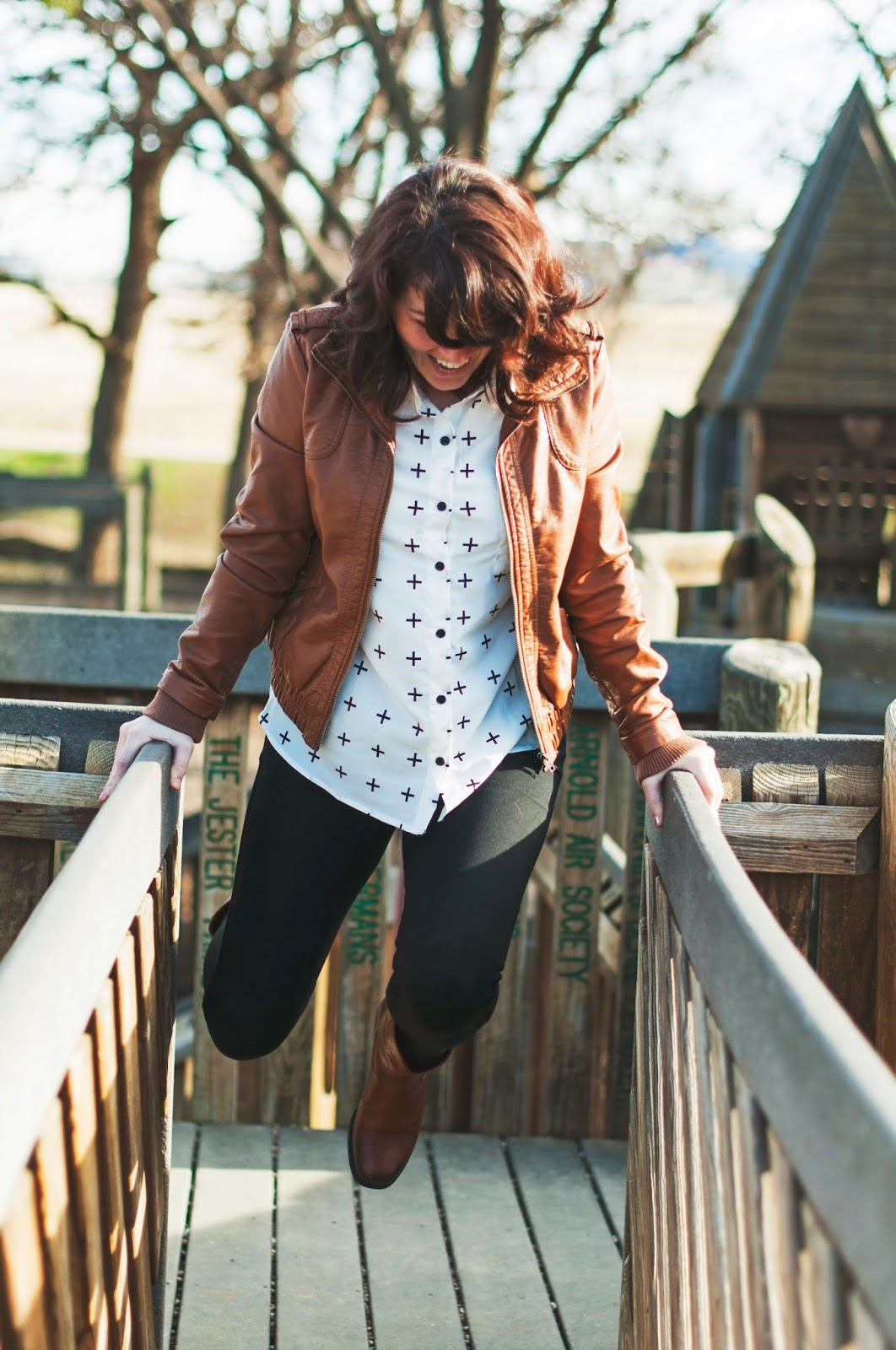leggings, leather jacket, tunic & booties, the ultimate comfy uniform