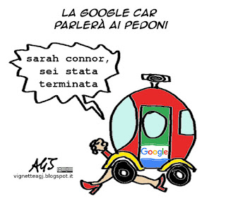 google car, intelligenza artificiale, terminator, tecnologia, vignetta satira