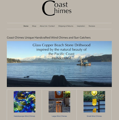 Screen shot of part of the homepage of Coast Chimes new website