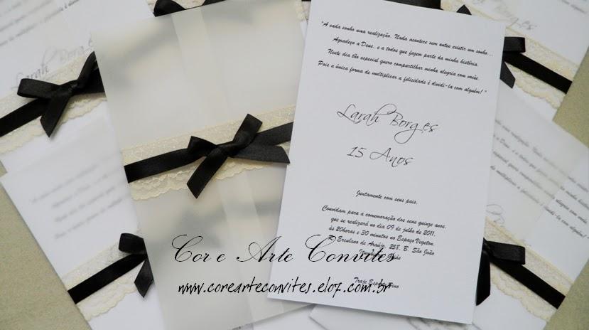 Cor E Arte Convites E Lembranças Convite 15 Anos Em Papel Vegetal
