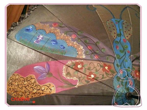Más detalles del paraguas pintado a mano de Sylvia López Morant, modelo Libélula.
