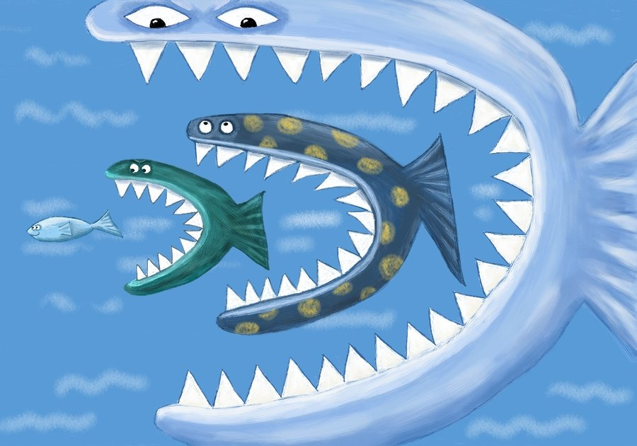 Not buying anything fukushima and eating low on the food for Big fish eat small fish