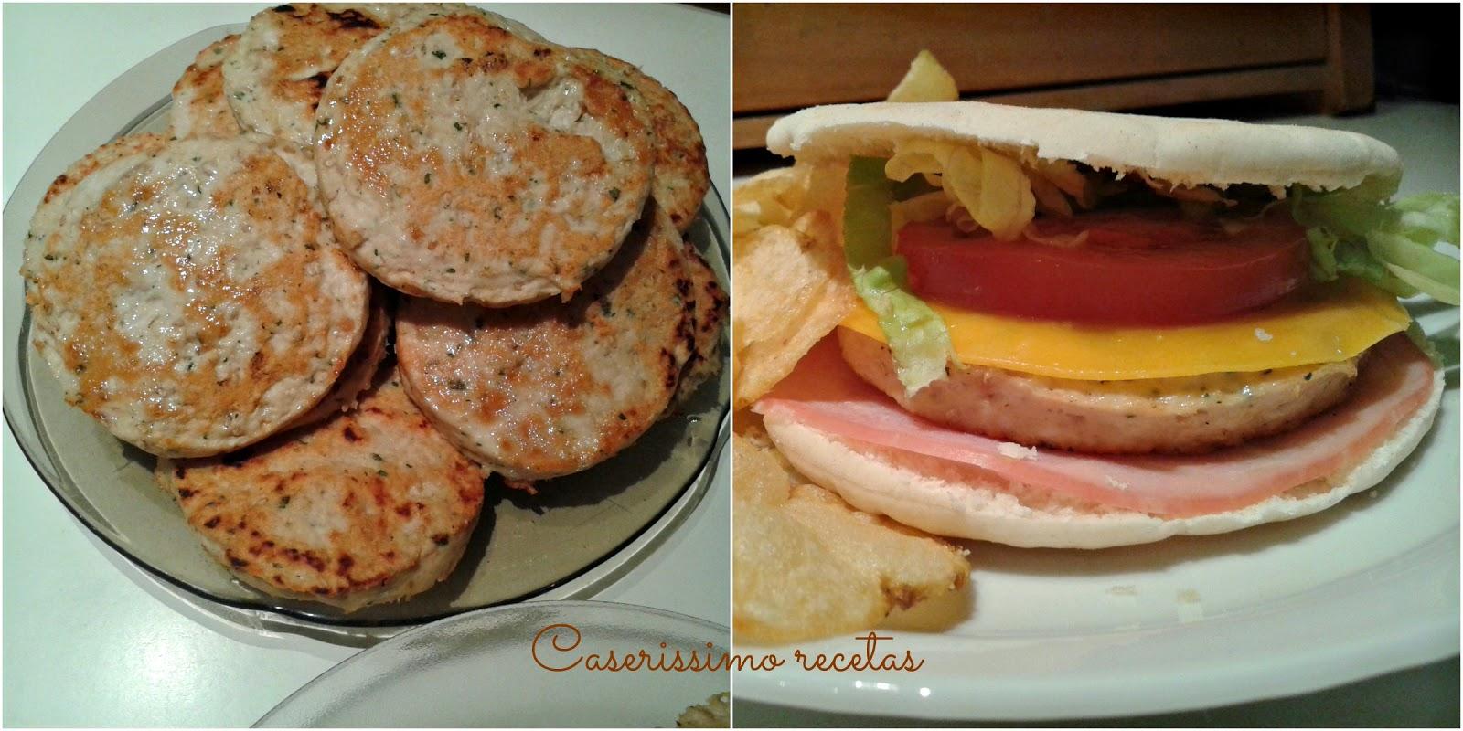 Sandwiches de hamburguesas de pollo caserissimo - Hamburguesas de pescado para ninos ...