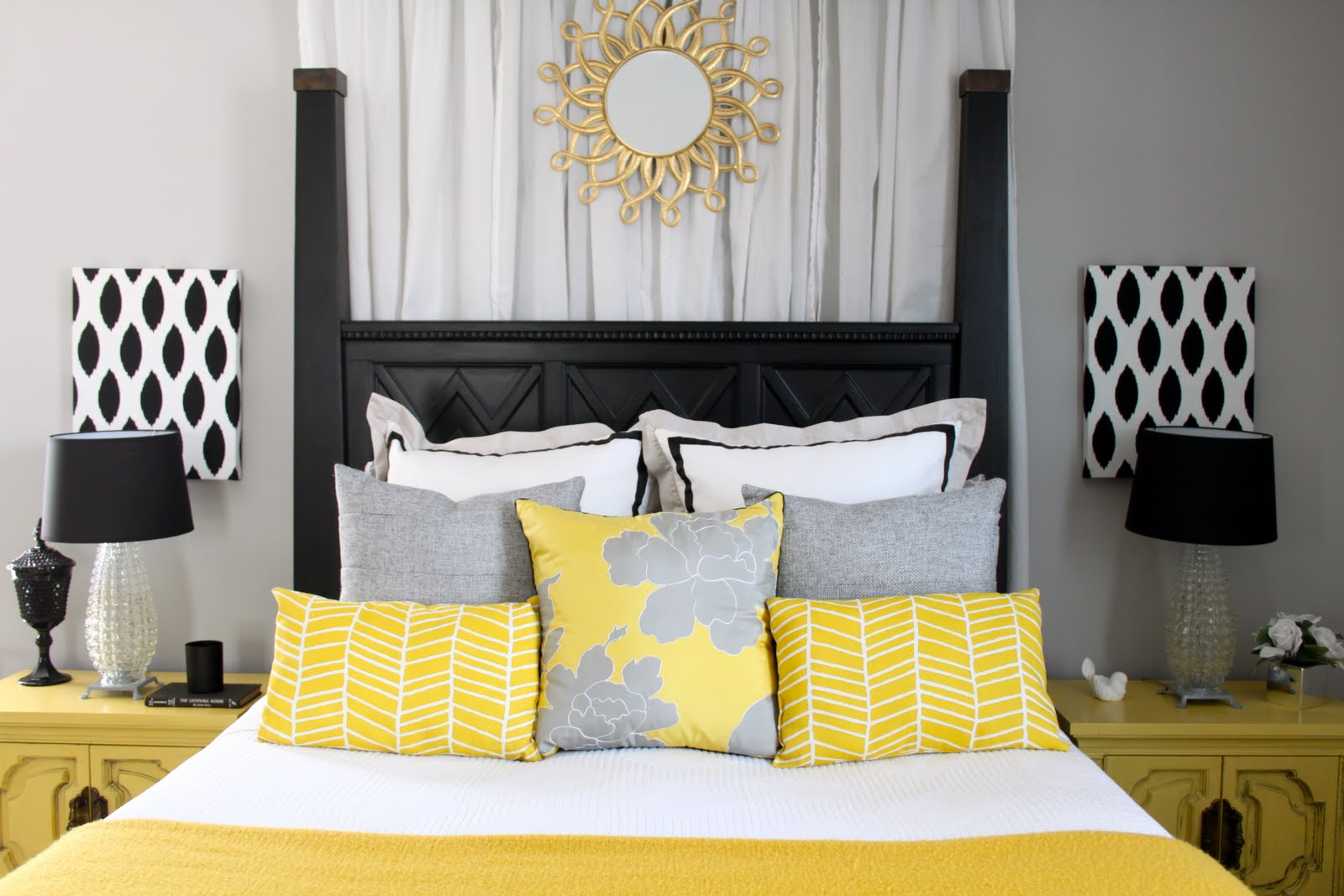 Dwellings by devore the master for Gray and yellow bedroom