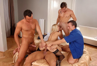 blonde fucked by four men