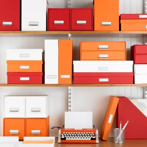 colorful storage boxes on shelves