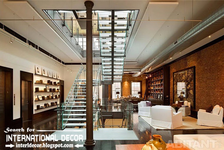 loft stairs design with glass staircase for loft interior, stairs parts