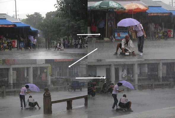 When this girl stopped what she was doing to give shelter to a disabled man in the rain.