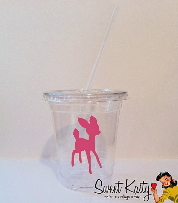 12 Little Pink Deer Party Cups, Lids, and Plastic Straws - 12 oz or 16 oz - Pink Decal - Birthday, Baby Shower, Gender Reveal