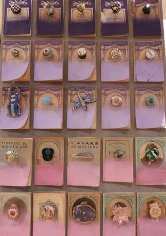 Painted Old French Books Displaying Door Knobs