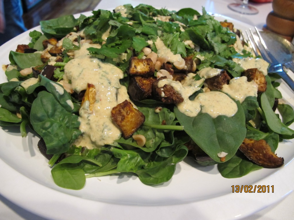 Spiced Eggplant and Peanut Salad (dressed)