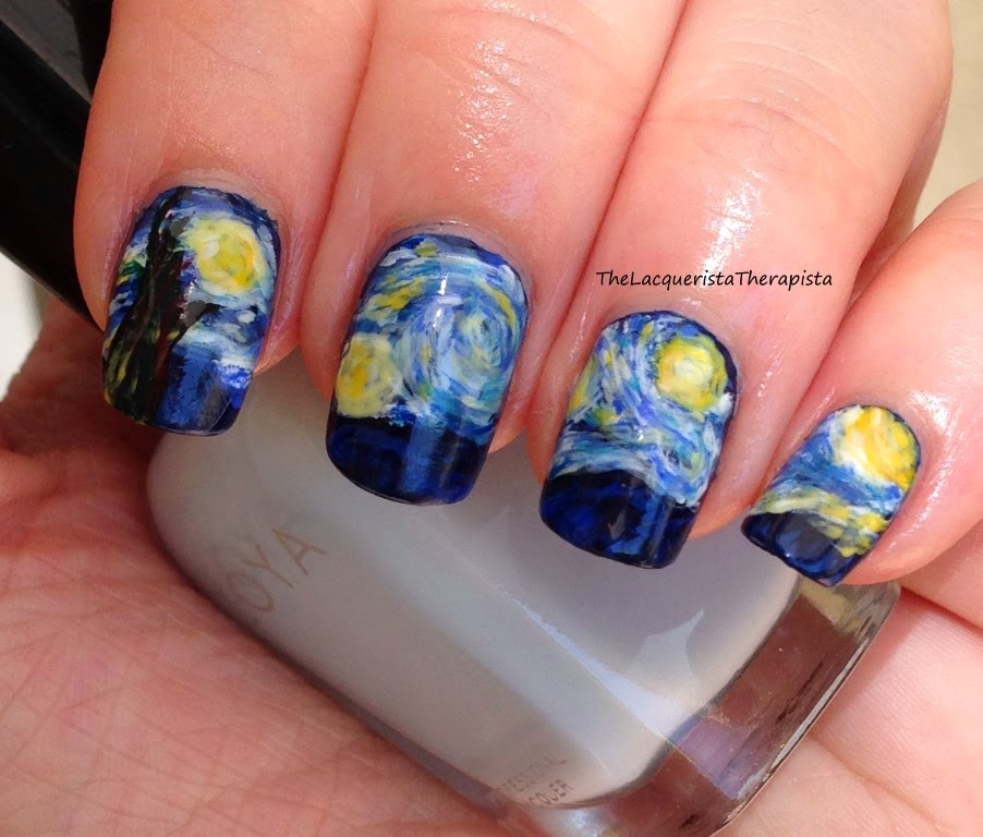 Van Gogh; Starry Night; nail art; impressionist