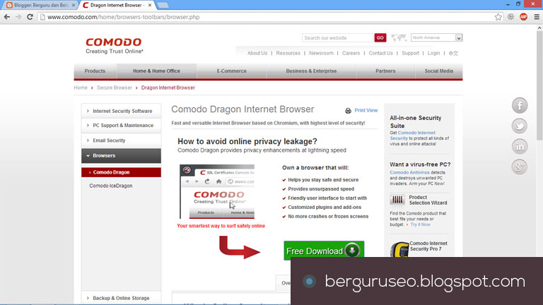Aplikasi Web Browser Comodo Dragon
