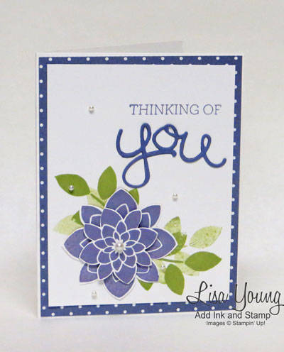 Stampin' Up! Crazy About You stamp set with Wisteria flower and polka dot border. A thinking of you card from Lisa Young, Add Ink and Stamp.