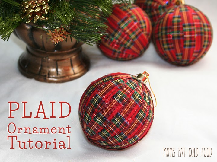 plastic ornaments at least for the bottom of the tree theyve become a bit shabby and uninspiring so i decided to perk them up with some plaid fabric