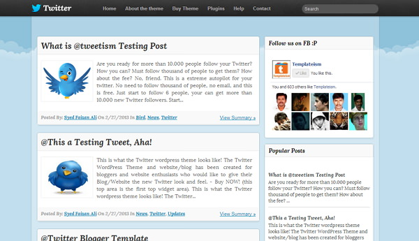 download  twitter inspired free blogger template