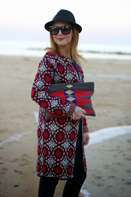 Mohekann Navajo clutch, Asos studded sunglasses, pinstripe pants, Fashion and Cookies, fashion blogger