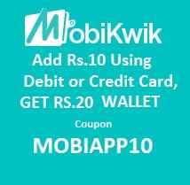 MOBIAPP10 Mobikwik Wallet Offer