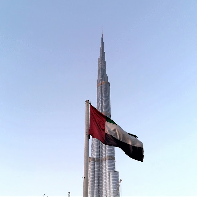 The Grand view of Burj Khalifa with UAE flag