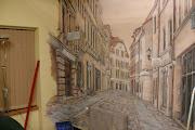 Malarstwo ścienneToruńska uliczka w perspektywie