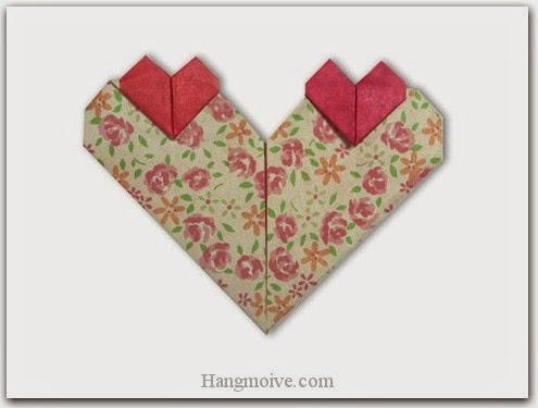Cách gấp, xếp ba trái tim bằng giấy origami - Video hướng dẫn xếp hình trái tim quà tặng - How to fold three heart