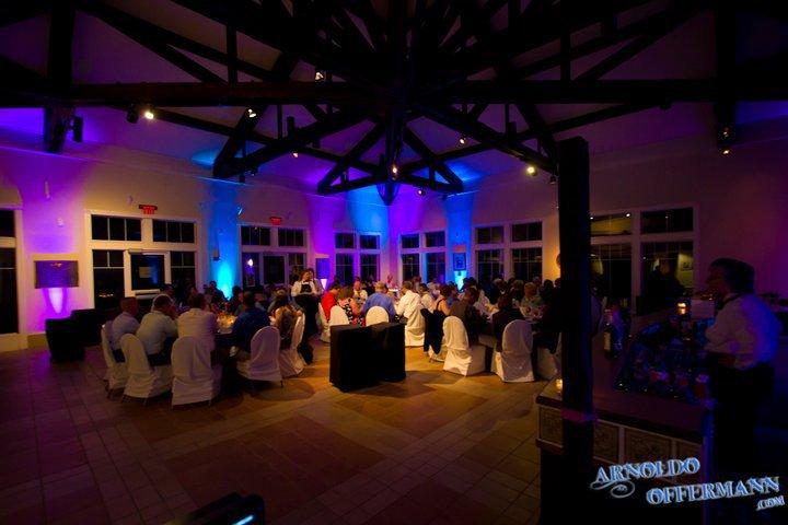blue wedding reception uplighting