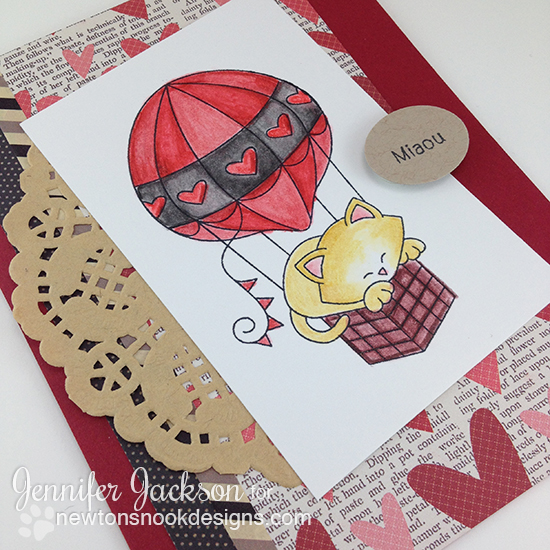Miaou Cat in Hot Air Ballon Card by Jennifer Jackson | Newton Dreams of Paris Stamp set by Newton's Nook Designs