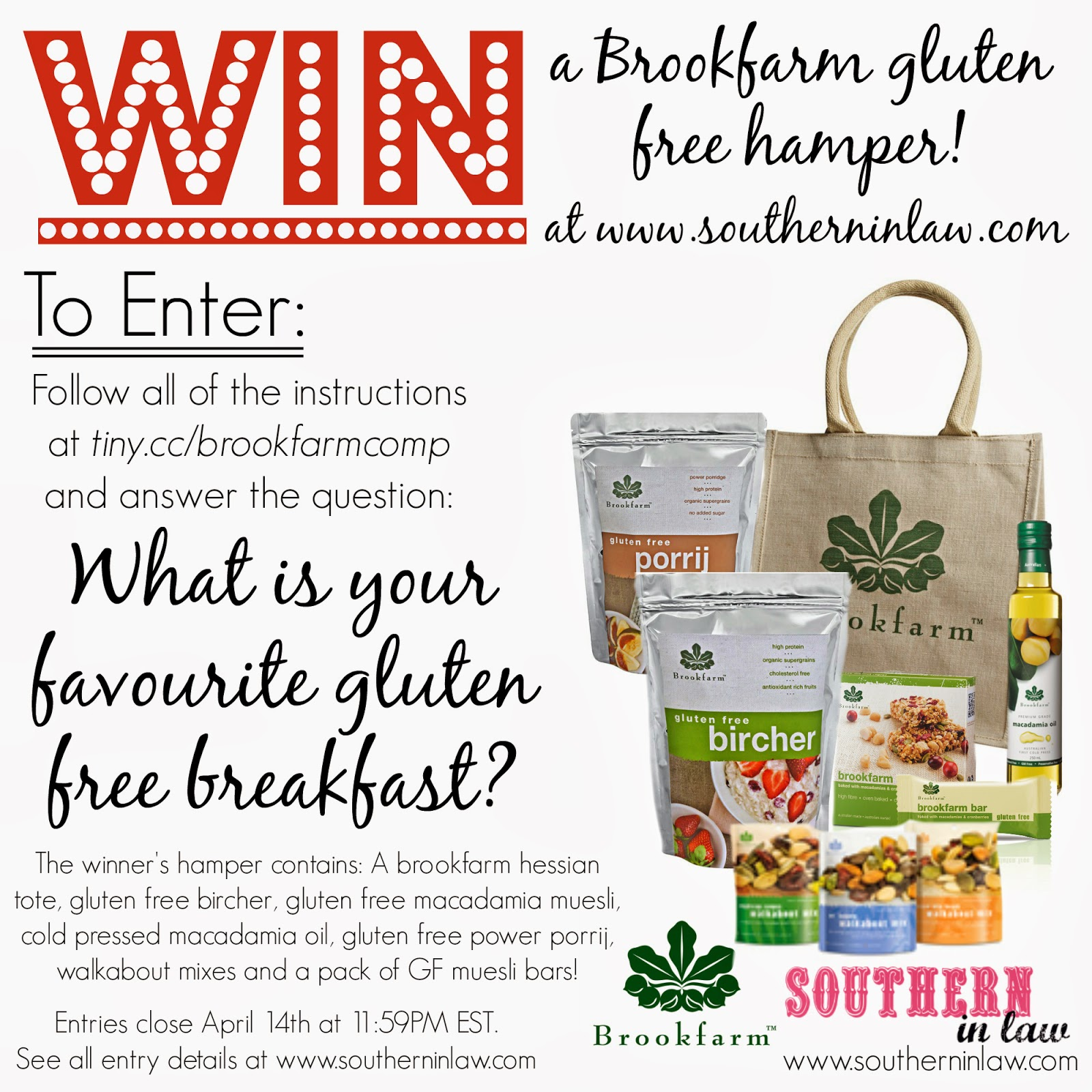 Win a Brookfarm Gluten Free Hamper for Coeliac Awareness Week 2014