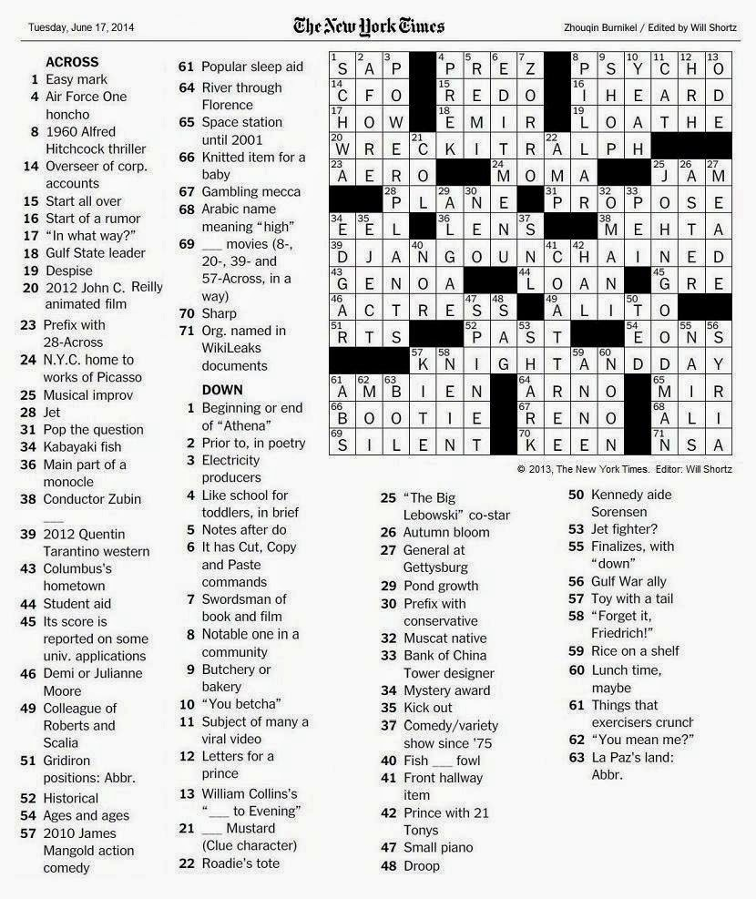 the new york times crossword in gothic  06 17 14  u2014 silent