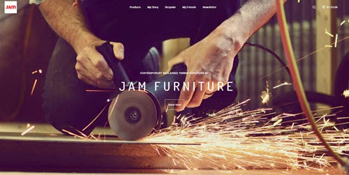 Jam furniture home page with grinder making sparks
