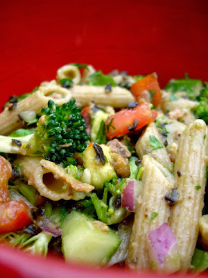 Avocado Chicken and bacon pasta salad