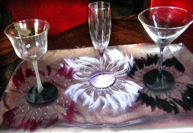 Various Feather Fan Diva Glass Slippers