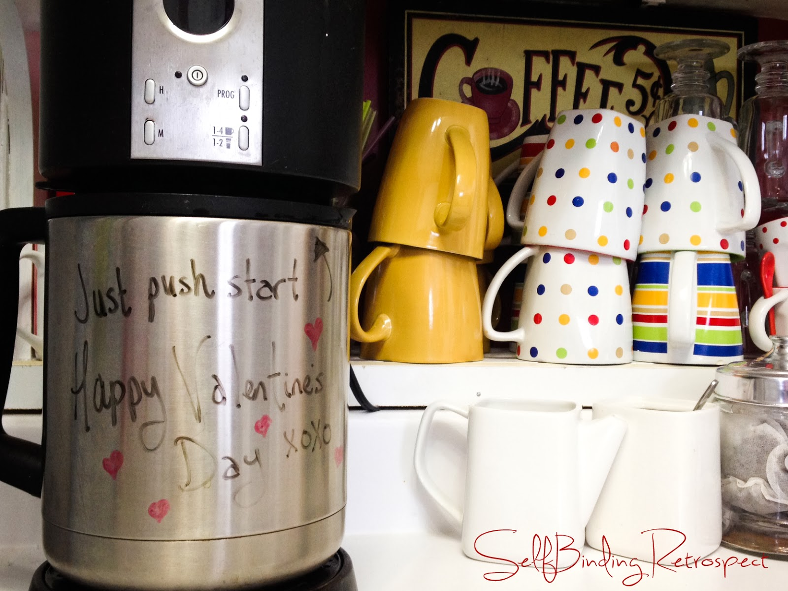 coffee maker, happy valentine's day message