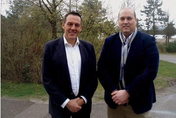 Paul Renders (links) naast Mark Haak Wegmann: 'Een nieuw park mag niet kannibaliseren.'