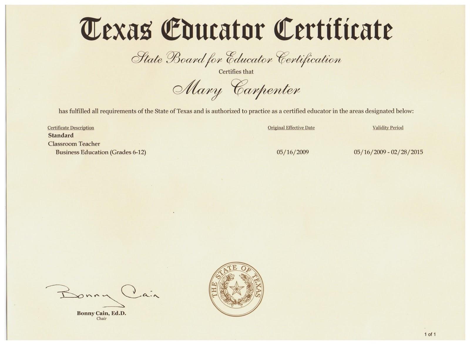 Certification Texas Oukasfo