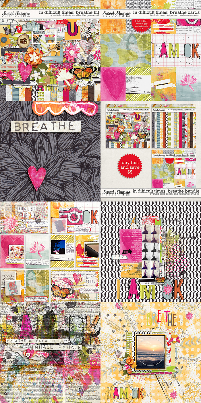 Heather Greenwood Designs | In Difficult Times: Breathe | a collaboration with Studio Basic Designs | digital scrapbook kit and journaling cards pack
