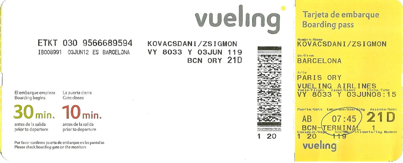 Targeta d embarcament per volar al carnaval hist ria for Ryanair barcelona paris orly