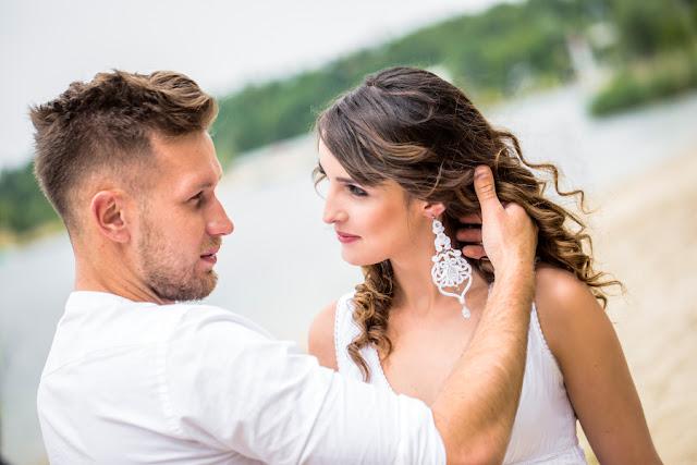 Długie sutaszowe kolczyki ślubne