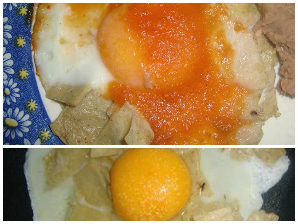 Huevo con salsa y tortillas