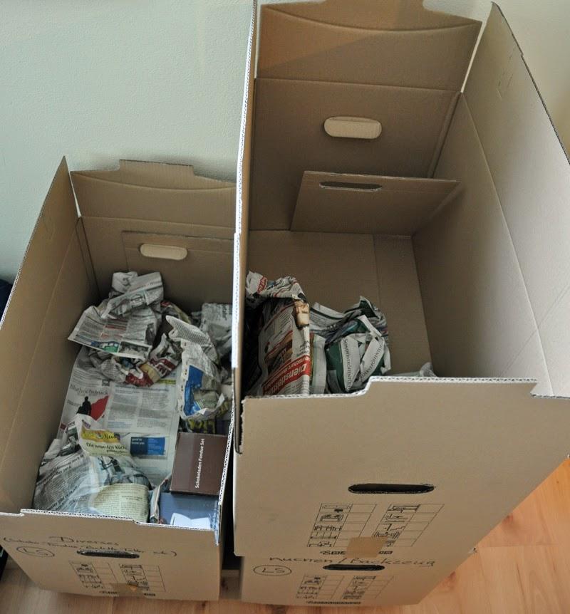 Unser neuer alter Schrank | Geschirr einpacken