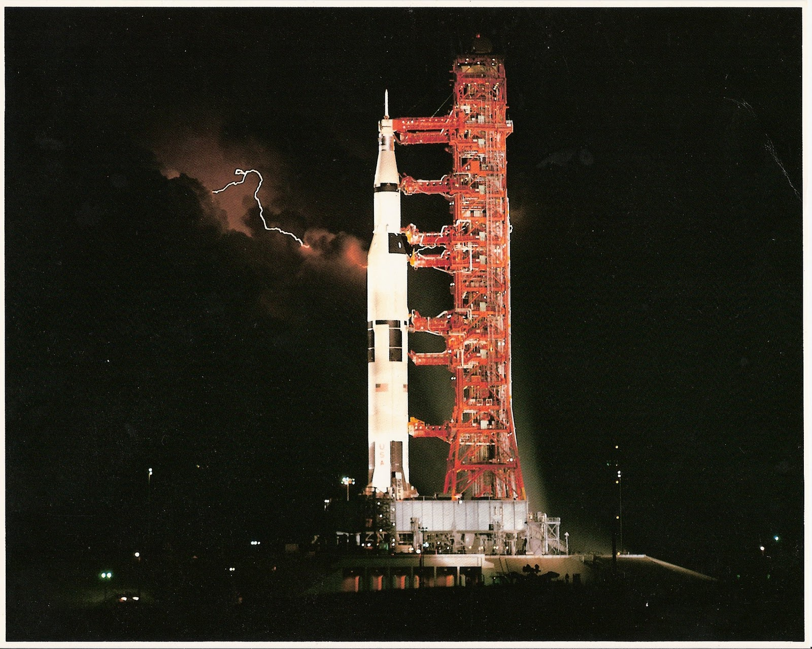 A Saturn V At Night On The Pad Oh And Some Lightning For Good Measure Space