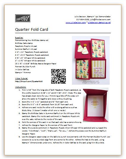 http://juliedavison.com/Tutorials/1404_QuarterFoldCard.pdf