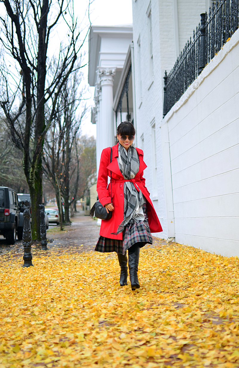 Red trench street style