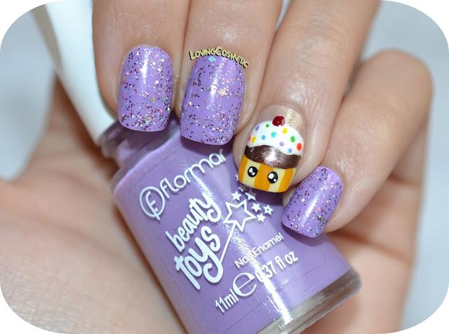 Nail Art Flormar beauty Toys, morado, cupcake, kawaii