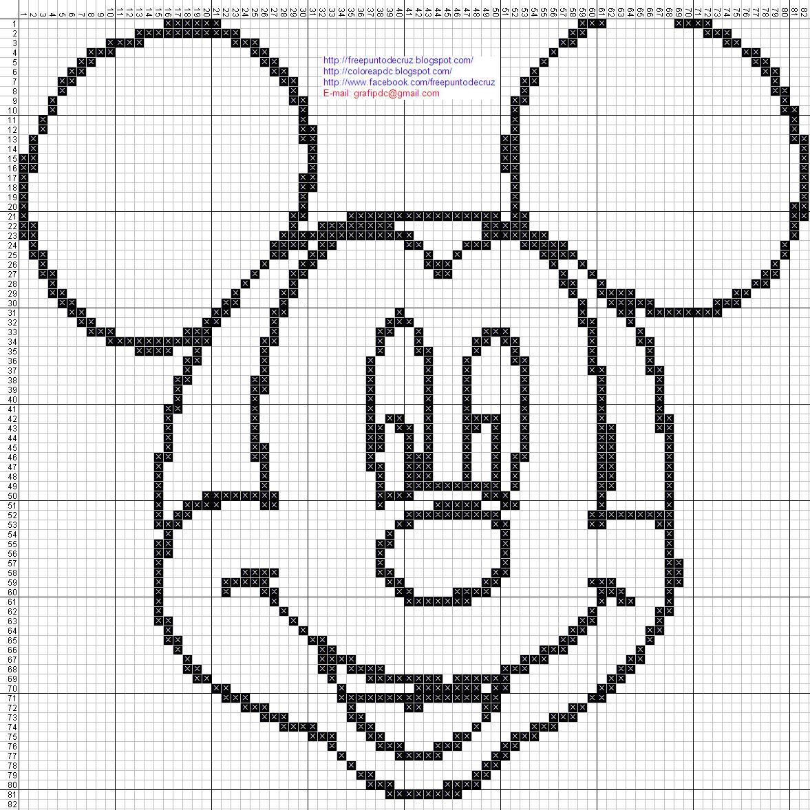 Mickey Mouse punto de cruz para colorear | Dibujos en patrones punto ...