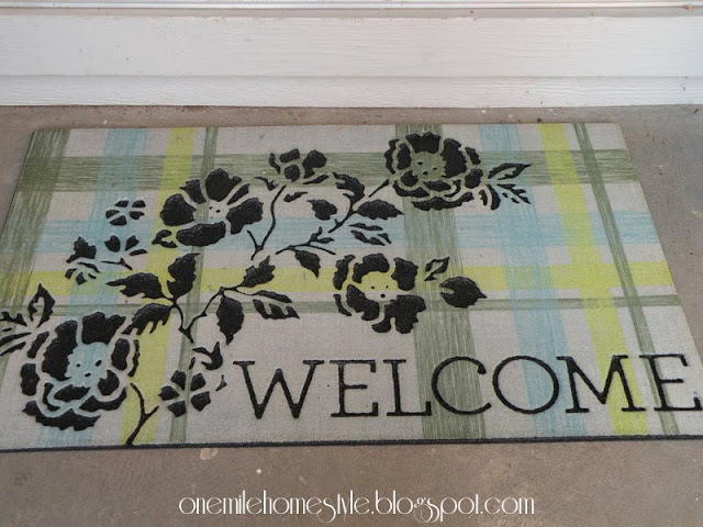 New blue and green welcome mat