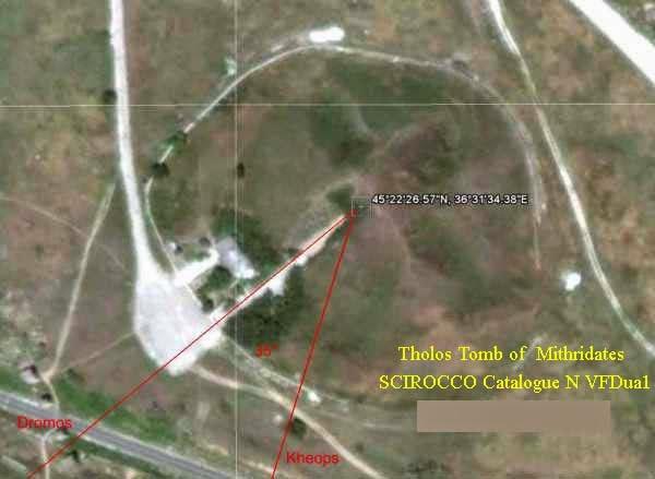 Royal Kurgan antenna dromos position  to direction of pyramid of Khufu, Kerch, Ukraine
