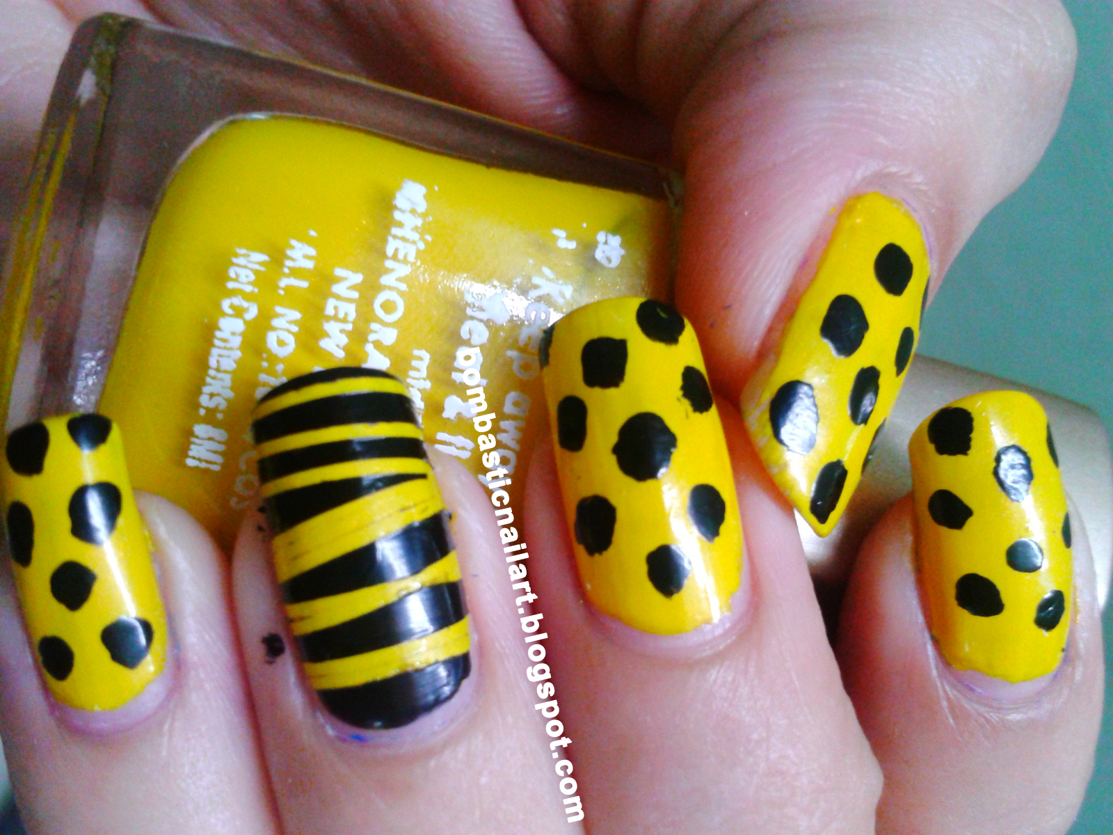 Yellow Black Striping Tape and Polka Dot Nail Art – Bombastic Nail Art